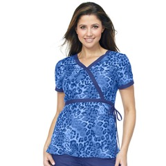 Koi Happiness mock wrap scrub top