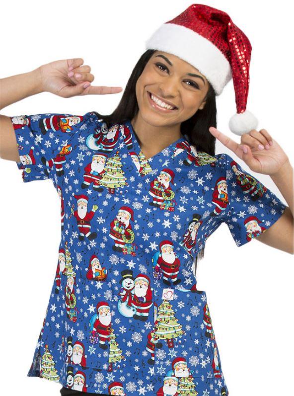 santa heres an adorable tooniforms scrub top