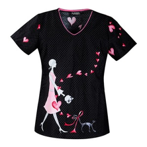 "Runway by Cherokee V-Neck ""Love Cats"" Print Top"